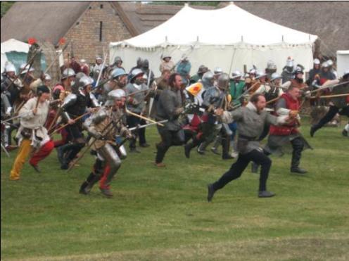 Soldiers running into battle atCosmeston!